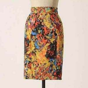 Anthropologie Tracy Reese Printed Skirt Yellow